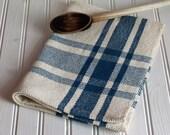 Handwoven kitchen tea towel / colonial blue & ivory farmhouse plaid