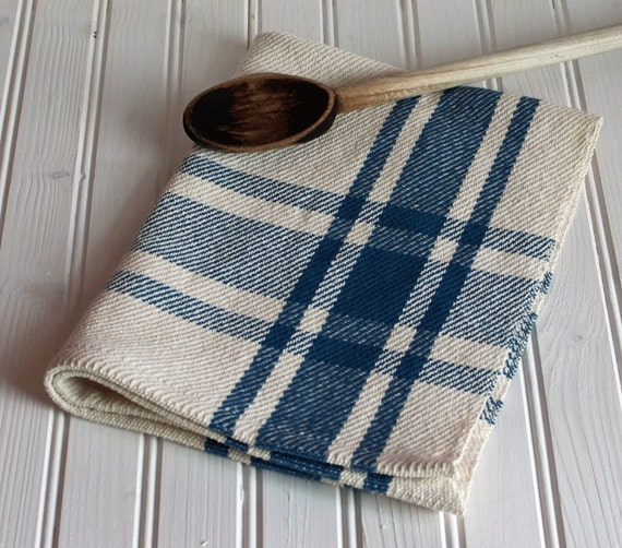 Handwoven Kitchen Tea Towel / Colonial Blue & Ivory Farmhouse