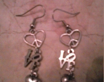 Groovy Upcycled Love Earrings