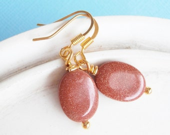 Stone Earrings - Goldstone Earrings - Gifts for Her Natural Stone Jewelry