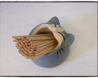 Grey Cat Toothpick Holder  by misunrie