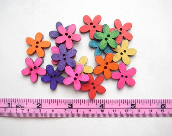 20 pcs of 2 cm rainbow small 2 Hole round flower fun colourful cute daisy simple Wood Sew knit crochet Button scrapbook craft diy creative