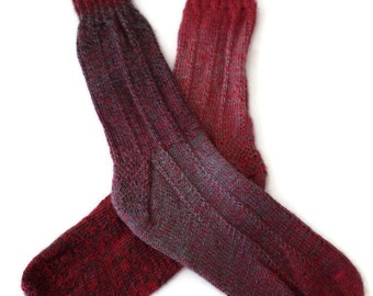 Socks - Hand Knit Men's Red and Gray Socks -  Size 9-10 - Casual Socks