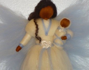 Winter Fairy, Blue Flower Faerie Doll with Baby, African American, Angel, Nursery, Blessing, Waldorf, Magic Wool, needle felted