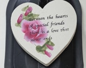 Pink roses, hand Painted Heart Magnet  Friends