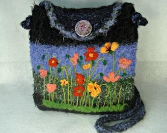 Felted flower purse, felted handbag, Alpaca purse, flower art