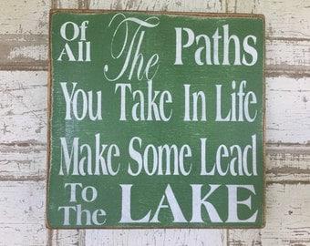 Lake sign, rustic, lake house decor, lake wall art, lake rules , green, Kerriart