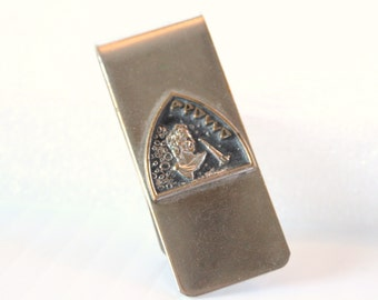 Vintage Roman Emperor Money Clip Silvertone Mens Womens Accessory