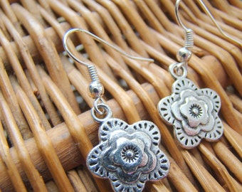 Stacked Flower Earrings, Tibetan Silver Earrings