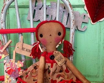 Happy Valentine's Day Raggedy Ann -  Valentine's Day Raggedy Annie - Valentine's Day Ragdoll - Valentine's Day gifts - Raggedy Annie Doll