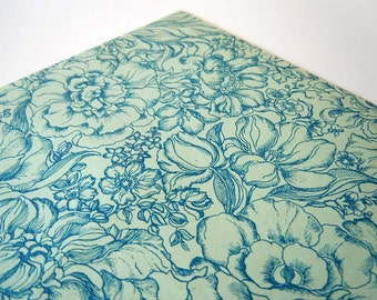1980s Any Occasion Wrapping Paper | Blue Floral Gift Wrap Paper