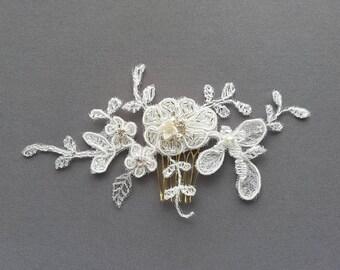 OFD1 Handmade bridal lace hair piece with handbeaded Swarovski rhinestones, crystals & pearls.