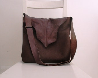 Vegan Leather and Genuine Leather Slouchy Messenger in Brown