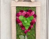 Burlap frame filled with moss and heart made with red roses and dried flowers. Ready to ship.  Perfect for your Valentine.