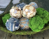 9 pomanders in moss bowl. These balls are made from Moss, burlap with Ric Rac, blue jeans, and vintage buttons. Moss bowl included.