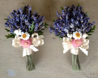 Dried lavender nosegay corsage, pin or brooch.