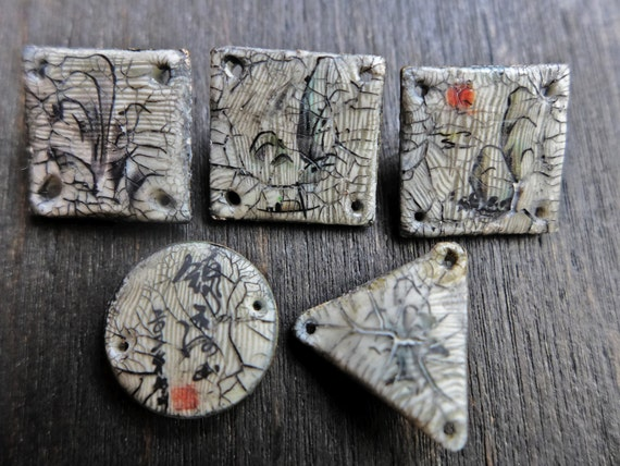 Polymer clay connectors. Set of 5 five with Chinese calligraphy painting decals.