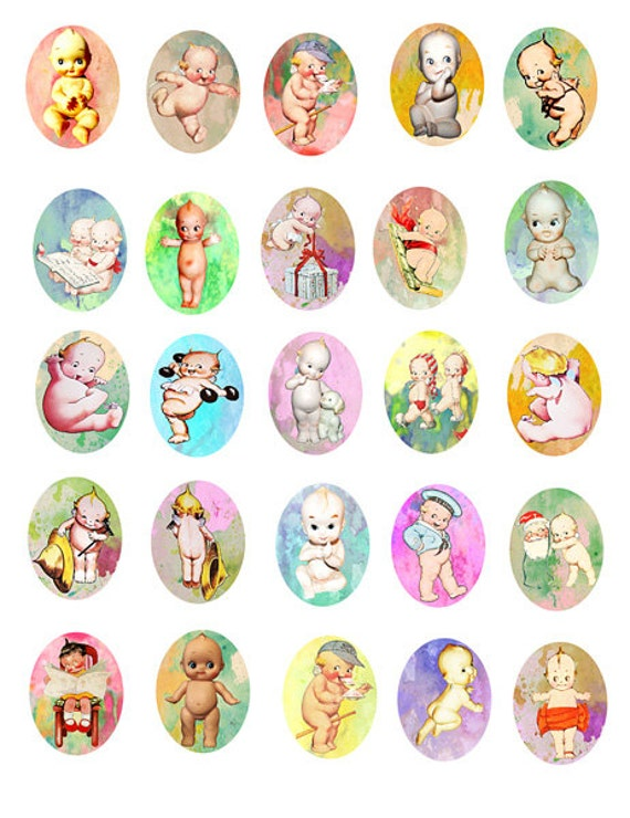 kewpie doll digital Collage sheet 30mm x 40mm oval cameo digital image downloadable art graphics printable