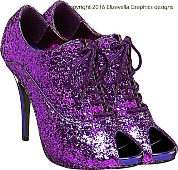 Glittery sparkly purple high heel shoe clip art png clipart jpg digital image transparent download beauty fashion graphics art printables