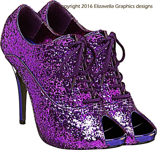 Glittery Sparkly Purple High Heel Shoe Clip Art Png Clipart