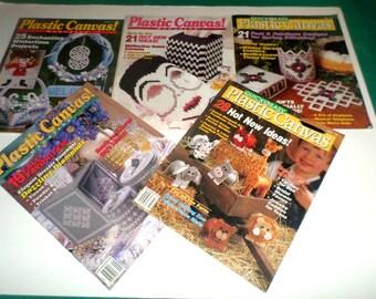 Plastic Canvas Magazines - 5 Issues of Plastic Canvas Patterns - Over 100 Vintage Plastic Canvas Patterns - Issues 11, 12, 17, 18, 22 - Set1