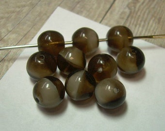 10 Vintage Czech Glass Beads Brown Mocha Rounds 8mm Marbles