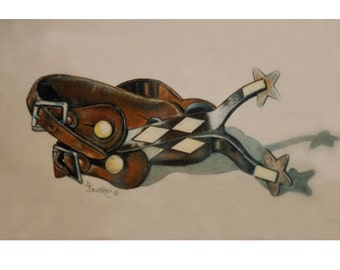 Diamond Spurs, Colored Pencil Print by B Bruckner