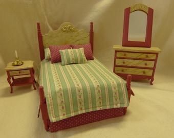 dollhouse miniature bedroom 4 piece set  - handpainted  cottage-chic style