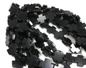 20mm x 20mm Black Howlite Cross Beads