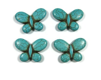 Large 35mm Howlite Butterfly Beads Set of 4