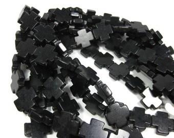 20mm x 20mm Black Howlite Cross Beads