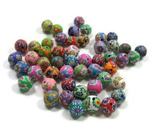 12mm Round Polymer Clay Beads Assorted Variety 50 pieces (A)