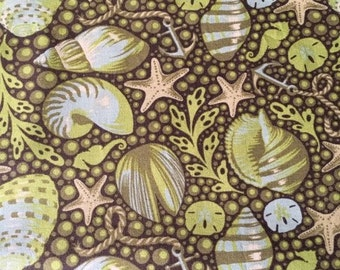 SALE. FQ Tula Pink Bubble Shells  in Seaweed Saltwater