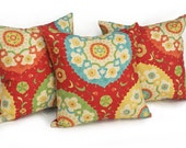 Red Suzani Pillow Cover, Red Yellow, Bohemian Pillows, Medallion Pillows, Colorful Pillow Covers, Turquoise Blue Green,  12x18,  16, 18