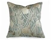 Luxury Velvet Pillow, Pale Blue Cream Pillow Covers, Decorative Throw Pillow, Cut Velvet Cushion Covers, 16x16, 18x18