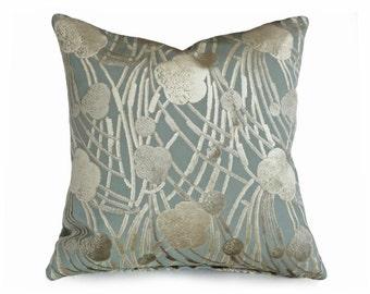 Pale Blue Velvet Pillow, Light Blue Cream Pillow Covers, Decorative Throw Pillow, Cut Velvet Cushion Covers, 16x16, 18x18