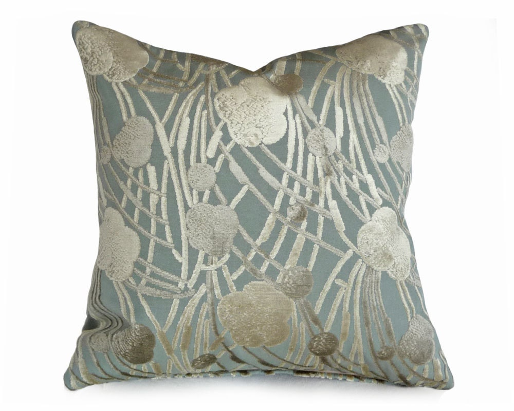 Pale Blue Velvet Pillow Light Blue Cream Pillow Covers