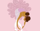 "8X10"" Ballerina Tying Slippers giclee print on fine art paper. Pink, lilac, caramel skin tone."
