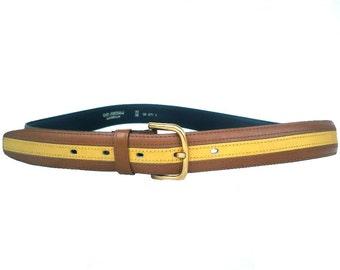 French Vintage Bicolor Lather Belt