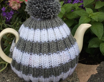 Tea Cosy with bobble - fits up to a 6 cup pot - dark grey and white