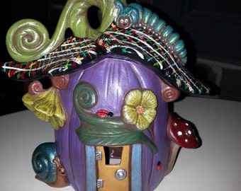Hand Painted Ceramic Pumpkin Fairy House