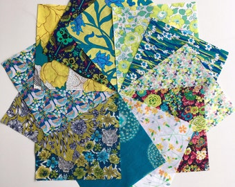 Liberty lawn Green and yellow charm pack - Limited edition 12 Liberty of London Tana Lawn  Fabric 5 inch squares
