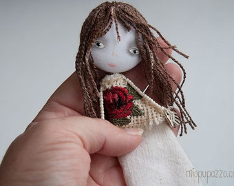Art doll brooch, Winter Boho Girl, Christmas Handmade gift
