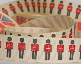 15mm Red Soldiers Ribbon by Berisfords, 5/8 inch British Soldiers Fabric Ribbon, part of The Home Front collection
