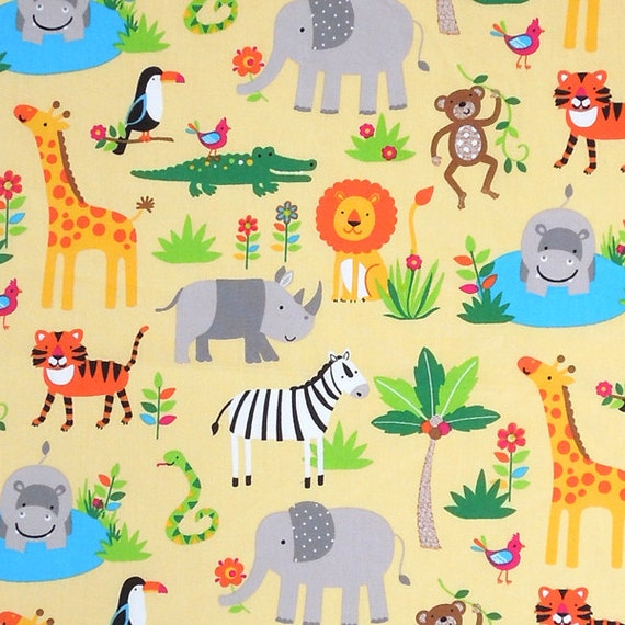 Baby yellow zoo animal cotton fabric kid 39 s yellow jungle for Childrens jungle fabric