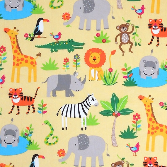 Baby yellow zoo animal cotton fabric kid 39 s yellow jungle for Yellow nursery fabric
