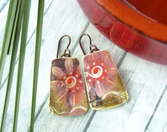 Polymer Clay Earrings Jewelry featuring a Flower Design in Pink, Magenta, Brown and White
