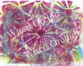 Laser Copy of Original Acrylic Artwork / Lime Green, Burgundy, Turquoise, White Pinwheel Design