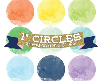 ON SALE Watercolor Circles Digital Bottle Cap Images Digital Collage Sheet Commercial Use