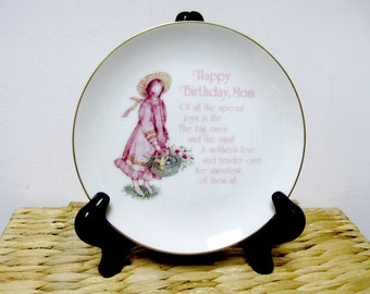 Vintage 1978 HOLLY HOBBIE Happy Birthday Mom Collectors Plate - Home Decor